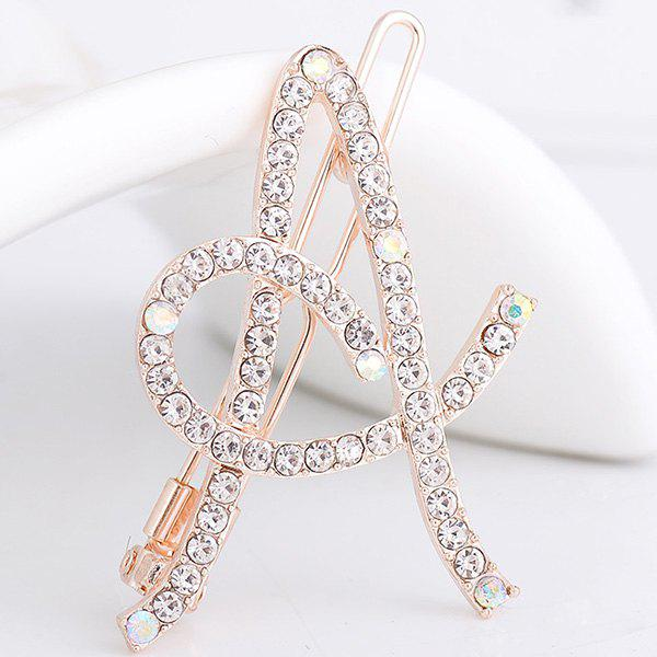 Strass Hollow Out Letter A Hair Clip - Blanc