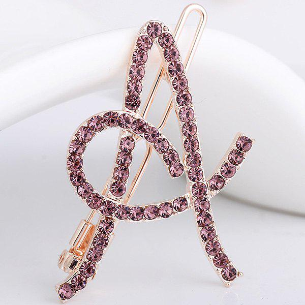 Rhinestones Hollow Out Letter A Hair Clip - PURPLE