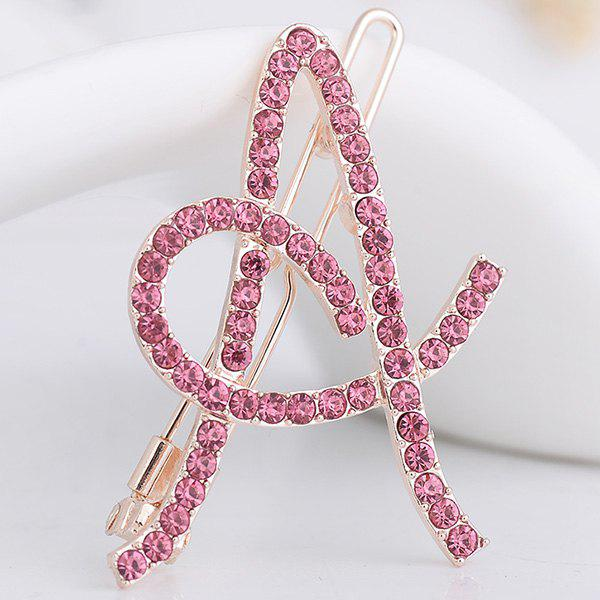 Strass Hollow Out Letter A Hair Clip - Rose Clair