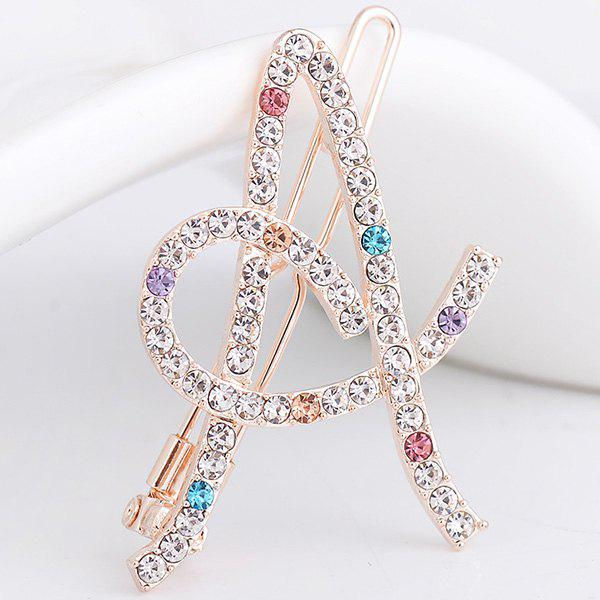 Strass Hollow Out Letter A Hair Clip - Coloré