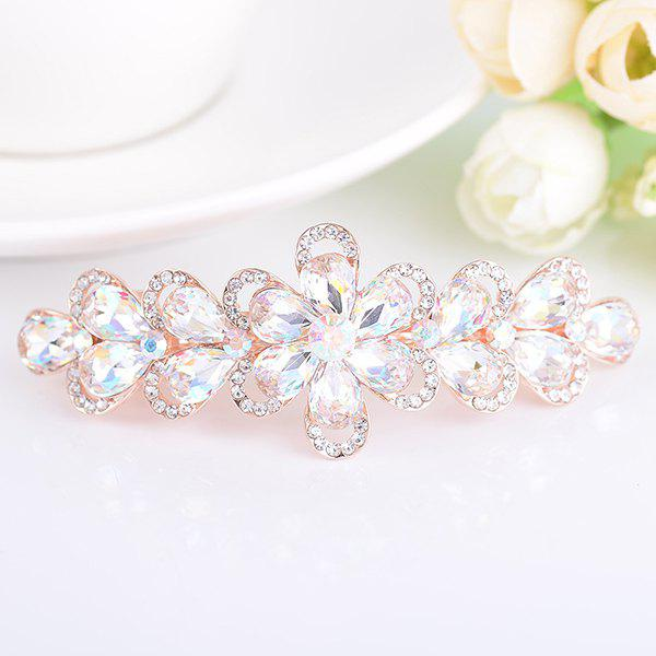 Artificial Crystal Rhinestone Inlaid Floral Barrette - WHITE