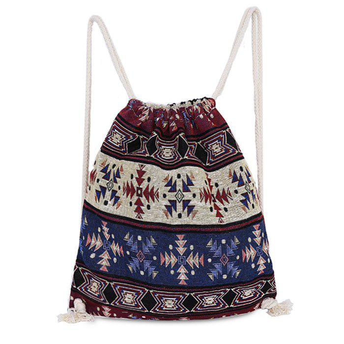 Tribal Print Drawstring Backpack - COLORMIX
