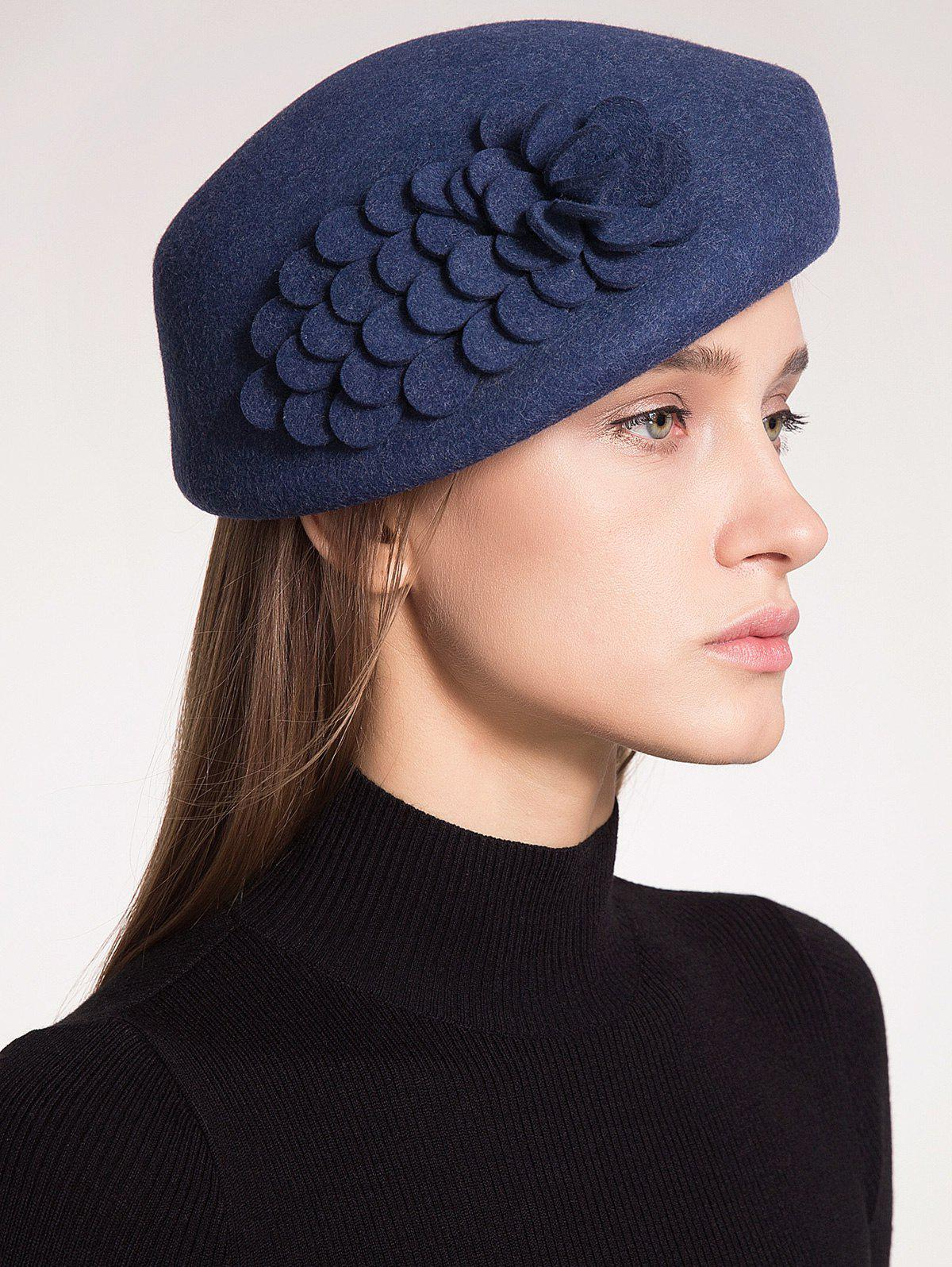 Woolen Pillbox Hoop Hat with Flower - PURPLISH BLUE