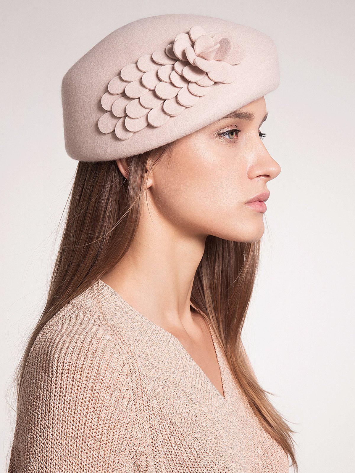 Woolen Pillbox Hoop Hat with Flower - APRICOT