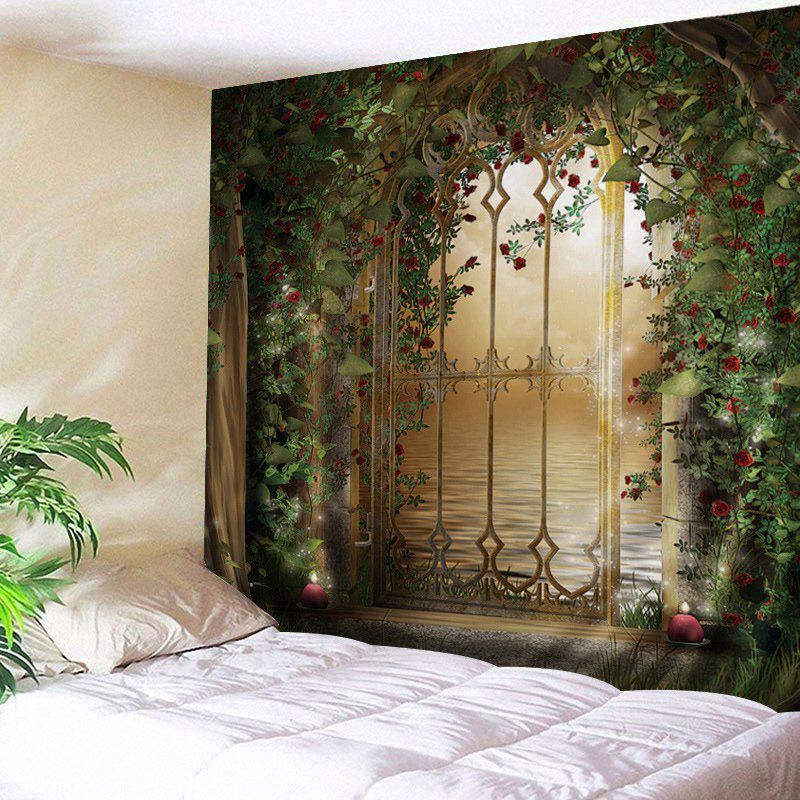 Wall Hanging Art Floral Door Lake Print Tapestry - GREEN W79 INCH * L71 INCH