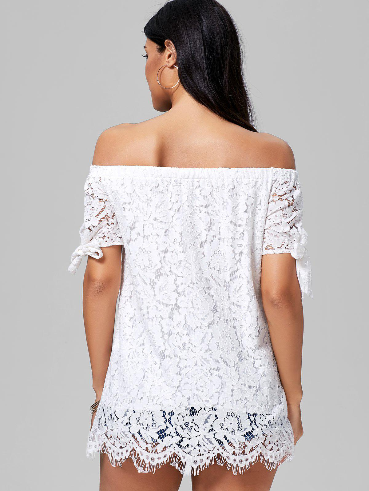 Off The Shoulder Lace Tunic Blouse - WHITE XL