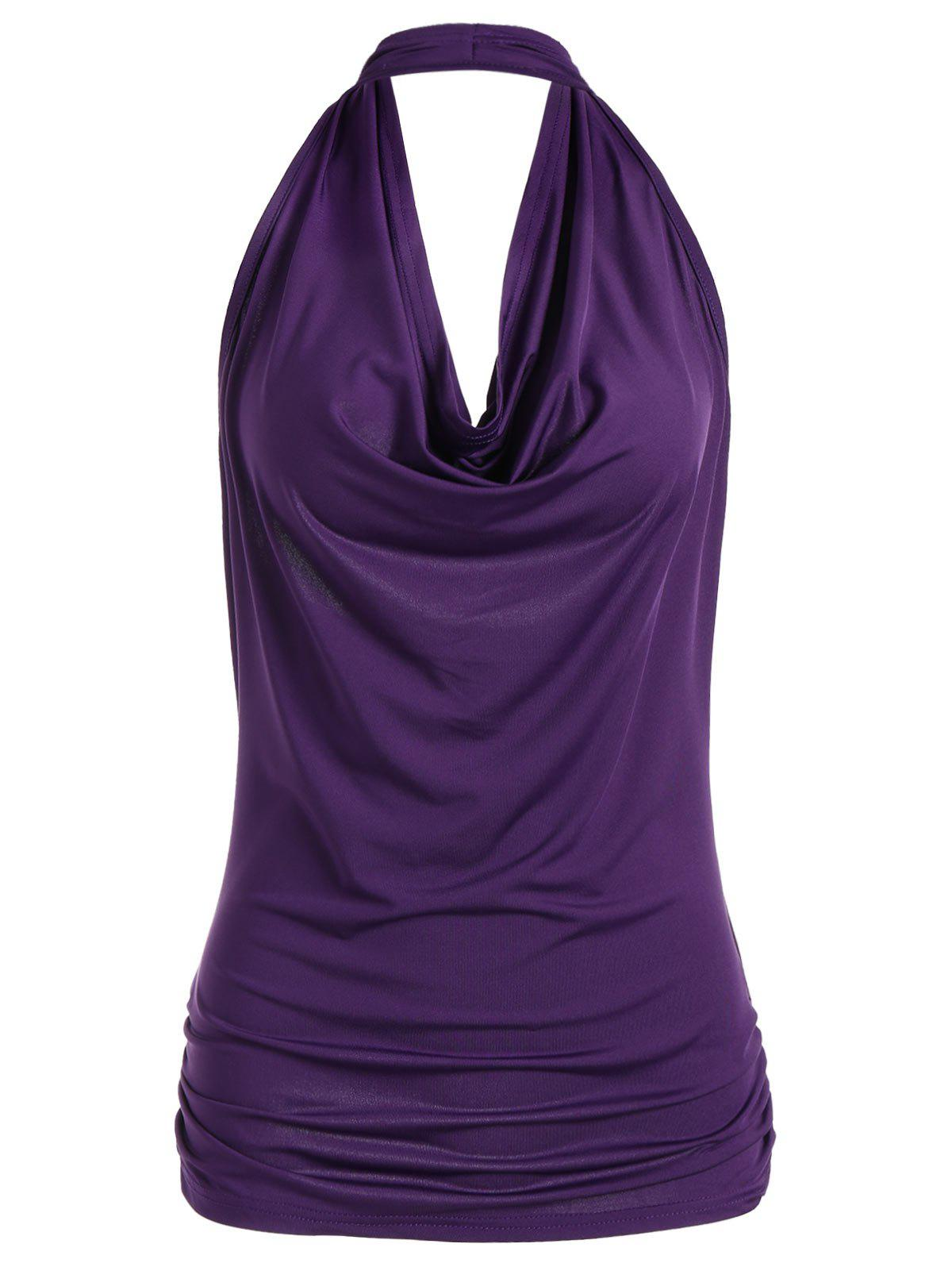 Open Back Halter Tank Top - PURPLE M