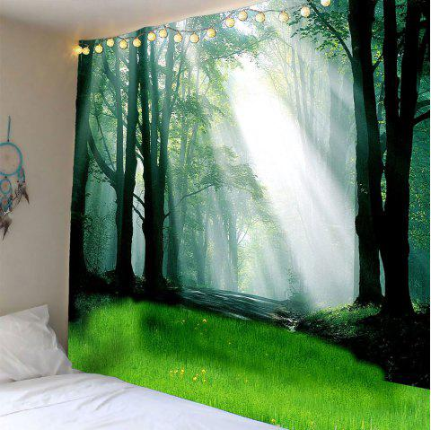 Waterproof Sunlight Forest Glass Wall Hanging Tapestry - LIGHT GREEN W79 INCH * L59 INCH
