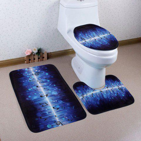 3PCS Music Notes Soft Absorbent Bathroom Rugs Set - BLUE