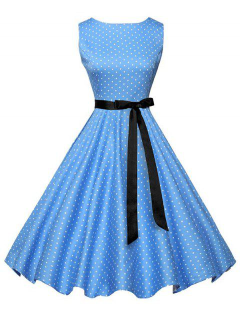 Vintage Sleeveless Polka Dot Dress with Belt - BLUE L