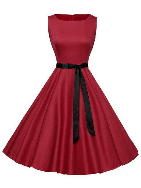 Vintage Sleeveless Plain Dress with Belt - RED M