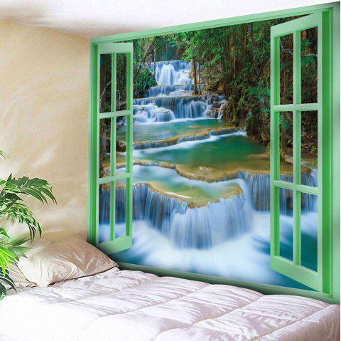 Window Scenery Pattern Wall Hanging Tapestry - OLIVE GREEN W79 INCH * L59 INCH