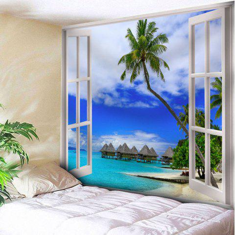 Coconut Tree Tapestry Window Print Wall Hanging - BLUE W79 INCH * L59 INCH