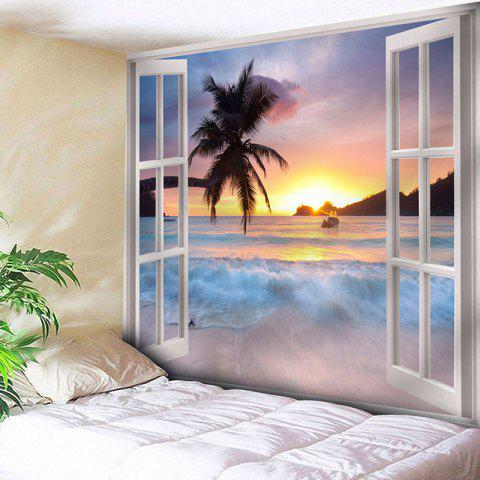 Microfiber Tapestry Window Scenery Wall Hanging - COLORMIX W59 INCH * L51 INCH