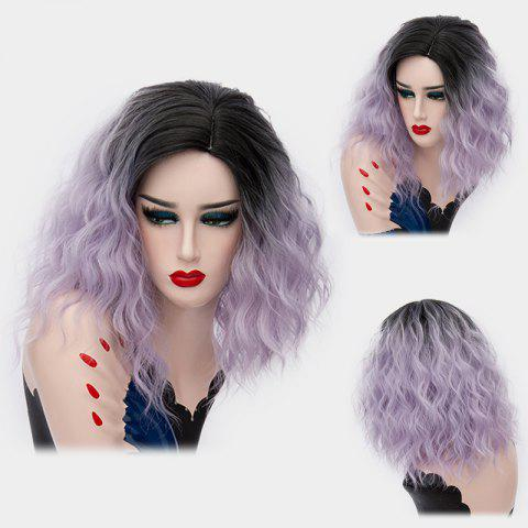 Medium Ombre Side Part Shaggy Natural Wave Synthetic Wig - SUEDE ROSE