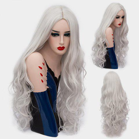 Ultra Long Center Part Shaggy Layered Curly Synthetic Wig - SILVER WHITE