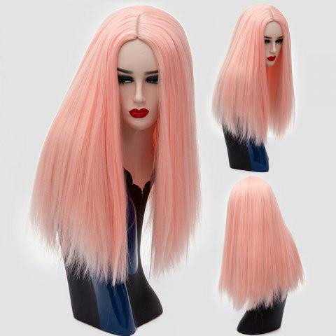 Long Center Parting Shaggy Straight Synthetic Wig - PINK