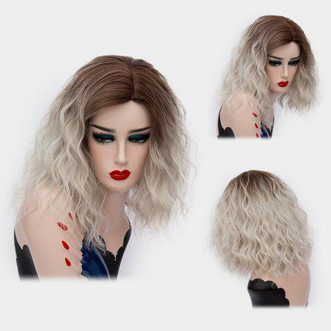 Medium Ombre Side Part Shaggy Natural Wave Synthetic Wig - GREY WHITE