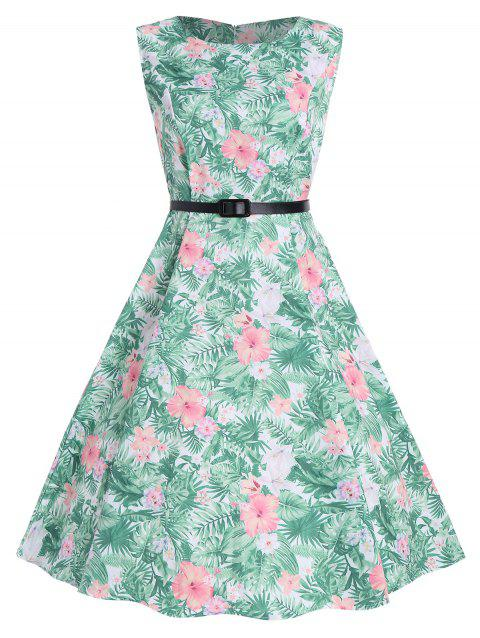Floral Tropical Print A Line Dress - GREEN XL
