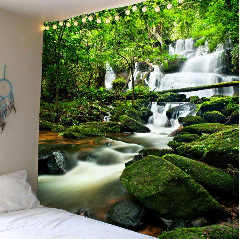 Waterfall Forest Waterproof Wall Tapestry - GREEN W79 INCH * L79 INCH