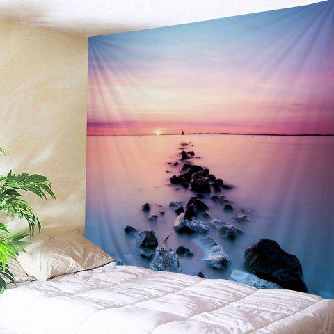 Ocean Sunrise Print Tapestry Wall Hanging Art - COLORFUL W59 INCH * L51 INCH