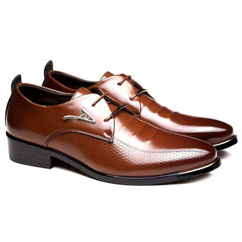 Faux Leather Tie Up Formal Shoes - BROWN 43