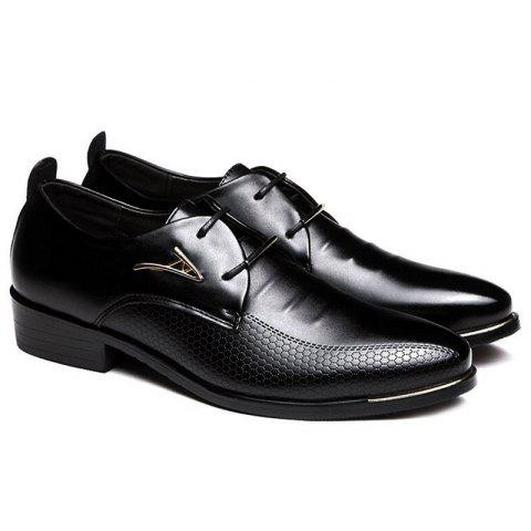 Faux Leather Tie Up Formal Shoes - BLACK 40