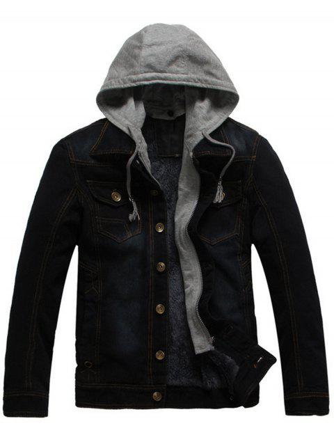Pocket Design Detachable Hooded Denim Jacket - BLACK XL