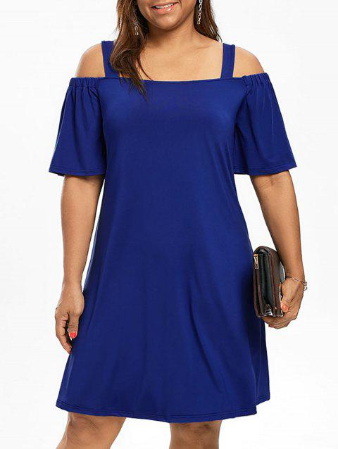 Plus Size Cold Shoulder Half Sleeve Dress - BLUE 3XL