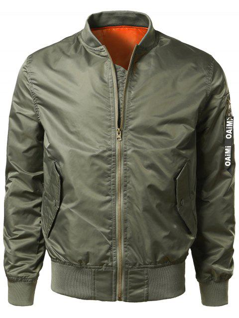 Zip Up Bomber Jacket with Flap Pocket - ARMY GREEN XL