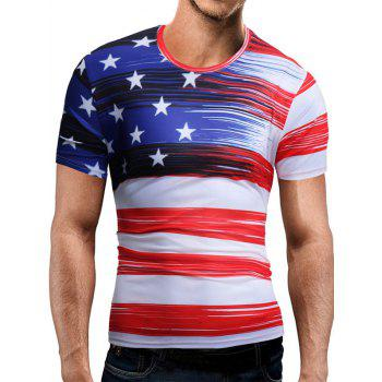American Flag Print Short Sleeve Tee - WHITE 2XL