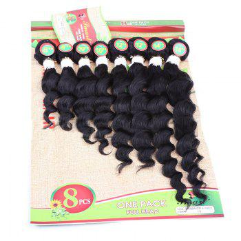 8PCS Different Sizes Caribbean Deep Wave Hair Weaves - BLACK BLACK