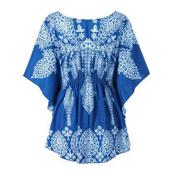 Print Butterfly Sleeve Plus Size Top - multicolorcolore 3XL