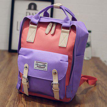 Canvas Color Block Backpack - PURPLE