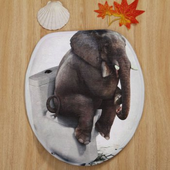 Thinker Elephant Pattern 3 Pcs Bathroom Toilet Mat - DUN