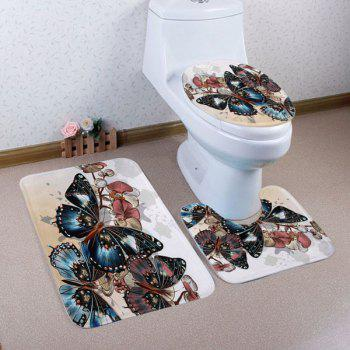Vintage Butterfly Pattern 3 Pcs Bathroom Toilet Mat