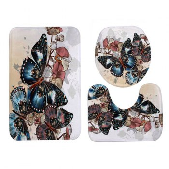 Vintage Butterfly Pattern 3 Pcs Bathroom Toilet Mat - COLORMIX