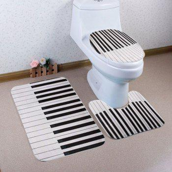 Piano Key Pattern 3 Pcs Bathroom Toilet Mat