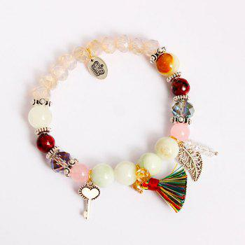 Key Tassel Leaf Charm Beaded Bracelet