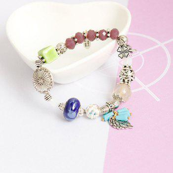 Rhinestone Floral Leaf Beaded Charm Bracelet - COLORMIX