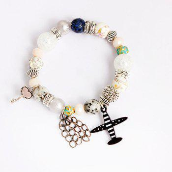 Key Airplane Heart Charm Beaded Bracelet