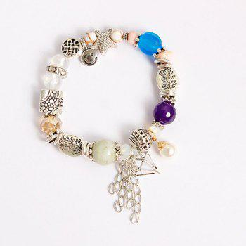 Fringed Starfish Smile Charm Beaded Bracelet