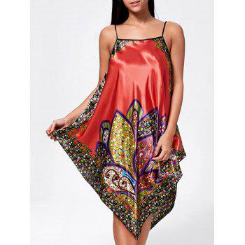 Asymmetric Floral Pajama Slip Dress