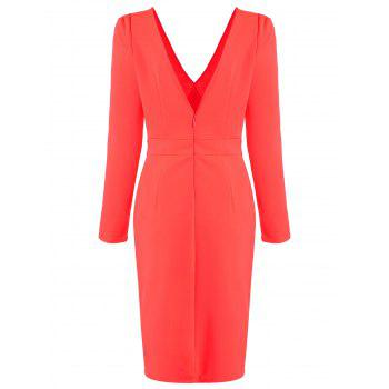 Asymmetric Plunging Neck Long Sleeve Bodycon Dress - RED RED