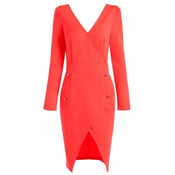 Asymmetric Plunging Neck Long Sleeve Bodycon Dress - RED XL