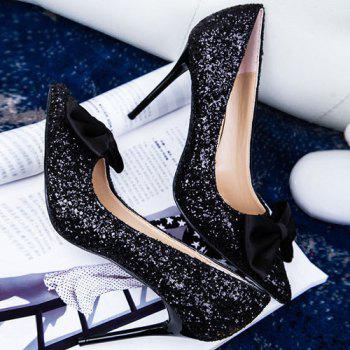 Glitter Mini Heel Bow Pumps - Noir 37