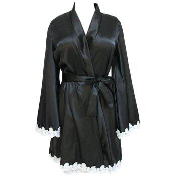 Lace Trim Satin Pajama Kimono with Belt