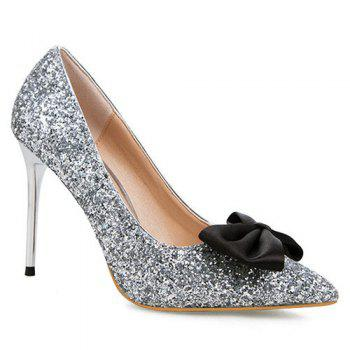 Glitter Mini Heel Bow Pumps