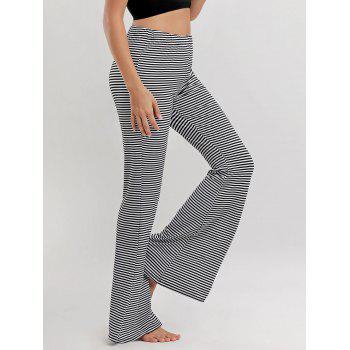 Wide Leg Striped Pants - BLACK WHITE XL