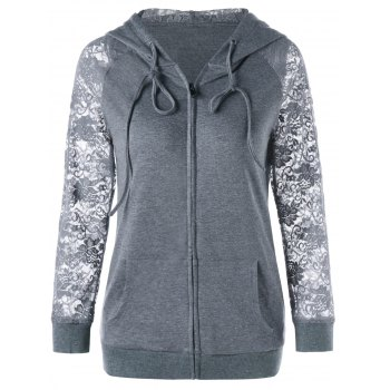 Lace Insert Drawstring Neck Hoodie